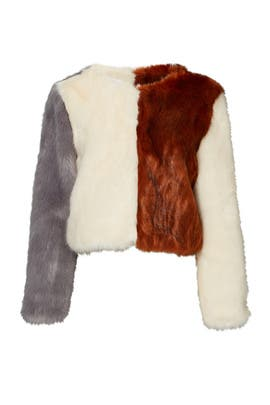 Colorblock Faux Fur Jacket by Line + Dot