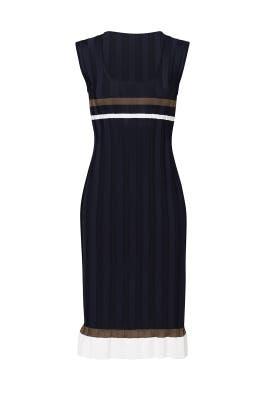 Navy Ribbed Ruffle Dress by Nina Ricci