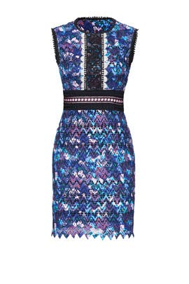 Floral Lace Chevron Dress by SALONI