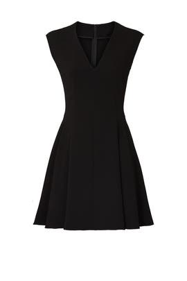 Black Pleated Cap Sleeve Dress by Theory