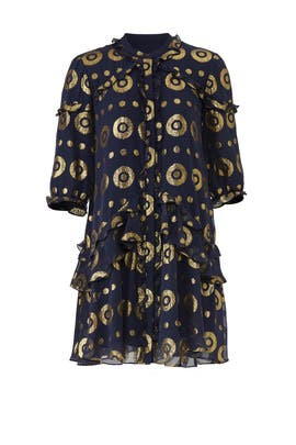 Navy Gold Tilly Ruffle Dress by SALONI