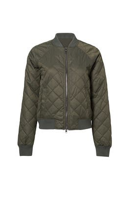 Olive Quilted Bomber Jacket by VINCE.