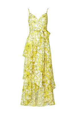 Yellow Mixed Print Dress by Badgley Mischka
