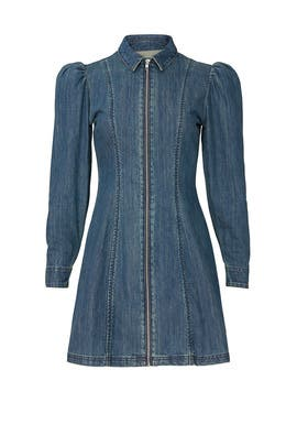 Zip Front Denim Dress by Alexa Chung