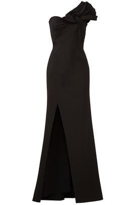 Black Bow Crepe Gown by Aidan Mattox