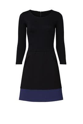 Black Colorblocked Dress by Nicole Miller