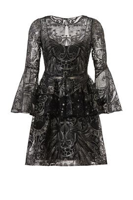Gunmetal Embroidered Dress by Marchesa Notte