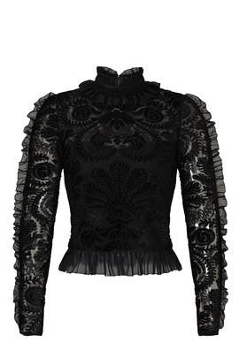 Black Mesh Trim Blouse by ML Monique Lhuillier