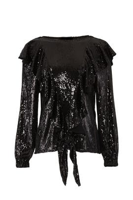 Sequin Ruffle Blouse by Nicole Miller