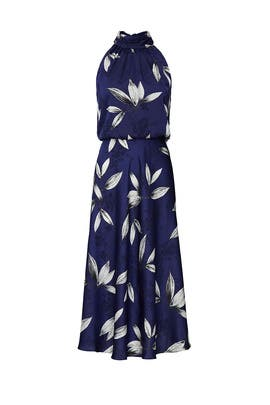 Navy Floral Halter Dress by Adrianna Papell