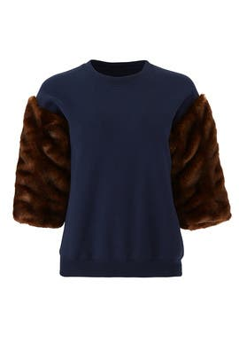 Faux Fur Sleeve Sweatshirt by Harvey Faircloth
