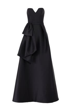 Black Waist Ruffle Gown by Theia