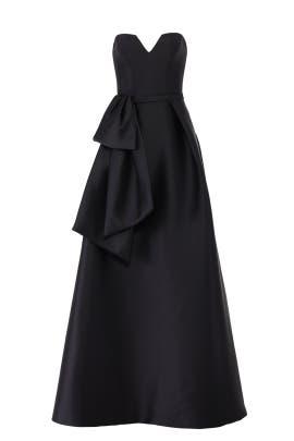 Black Waist Ruffle Gown by Theia