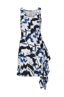 Blue Printed Abstract Ruffle Dress by Waverly Grey