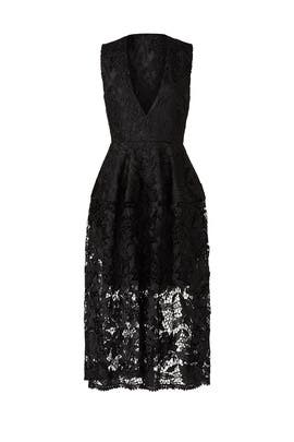 Black Metallic Lace Ball Dress by Nicholas