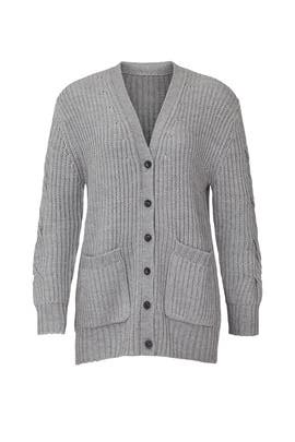 Grey Cable Knit Cardigan by Thakoon Collective