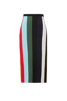 Metallic Stripe Skirt by Diane von Furstenberg