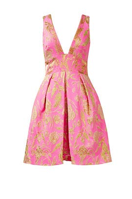 Pink Metallic Floral Dress by Marchesa Notte