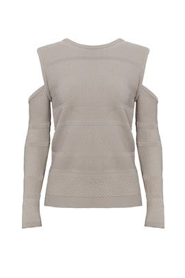 Khaki Cold Shoulder Sweater by Nicole Miller