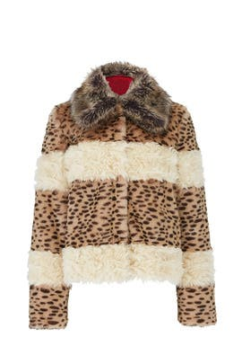 Faux Fur Patchwork Coat by PINKO