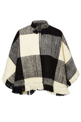 White and Black Dakota Poncho by TULAROSA
