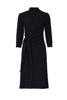 Black Long Sleeve Tie Knot Dress by KINLY