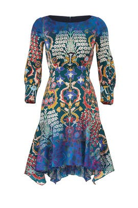 Printed Boat Neck Mini Dress by Peter Pilotto