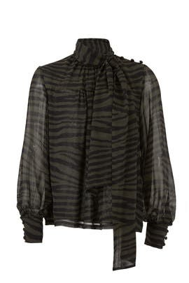 Tie Neck Tiger Print Top by Proenza Schouler