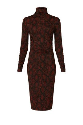 Red Snake Print Turtleneck Dress by Proenza Schouler White Label