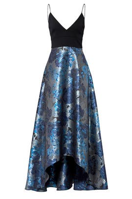 Blue Floral Gown by Badgley Mischka