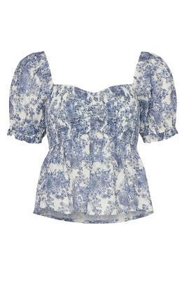 Blue Floral Smocked Top by Louna