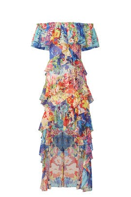 Multi Floral High Low Maxi by Badgley Mischka