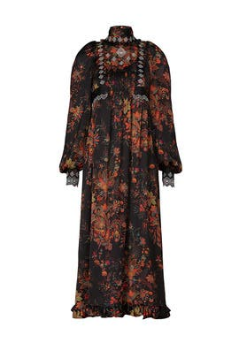 Black Floral Robe Dress by Paco Rabanne