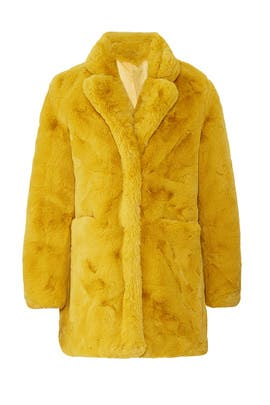 Mustard Sophie Faux Fur Coat by Apparis