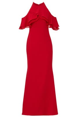 Red Crossover Ruffle Gown by Badgley Mischka