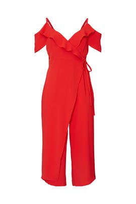 Red Cascade Wrap Jumpsuit by ELOQUII