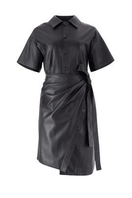 Faux Leather Wrap Dress by Goen. J