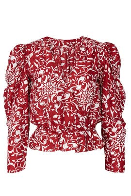 Red Printed V-Neck Top by The Kooples
