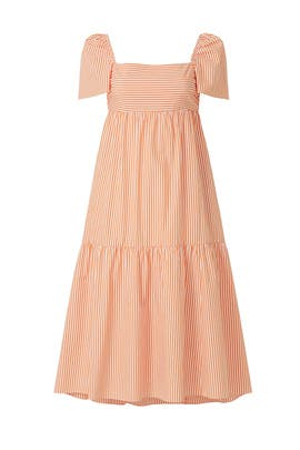 Orange Puff Sleeve Tiered Dress by Peter Som Collective