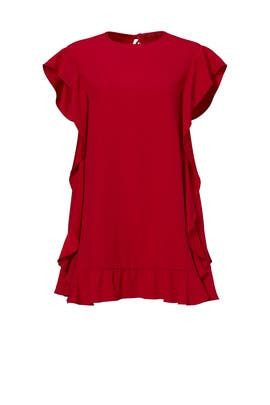 Red Ruffle Sleeve Shift Dress by RED Valentino