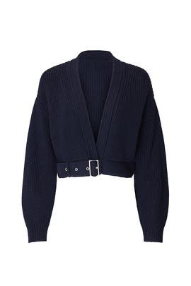 Navy Cropped Belted Cardigan by Sally LaPointe