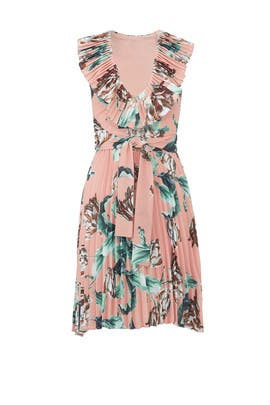Pink Printed Pleated Dress by PatBO