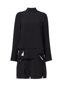 Black Carwash Pleat Dress by Proenza Schouler