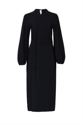 Black Puff Sleeve Midi Dress by Rochas