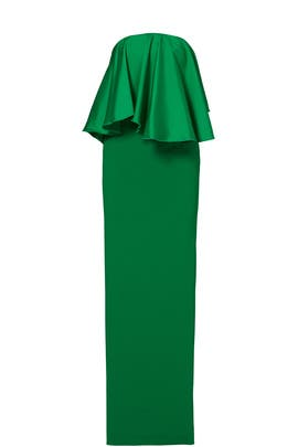 Green Liv Ruffle Gown by Solace London