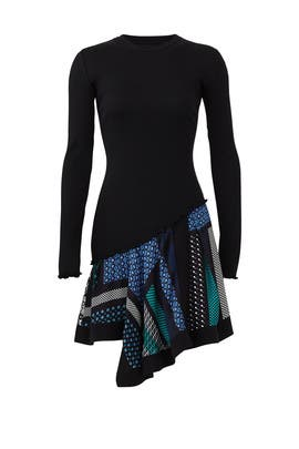 Knit Scarf Print Hem Dress by Derek Lam 10 Crosby