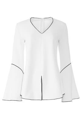 White Flare Sleeve Top by Derek Lam Collective