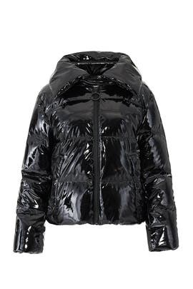 Shiny Black Puffer Coat by KENDALL + KYLIE