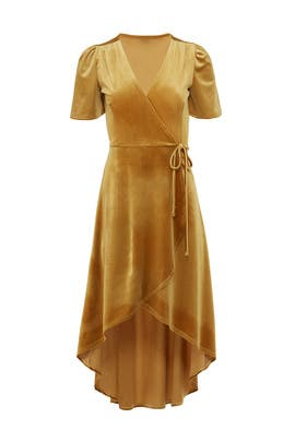 Mustard Velvet Wrap Dress by Slate & Willow
