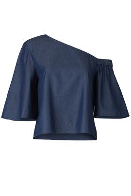 Denim Bell Sleeve Top by Tibi